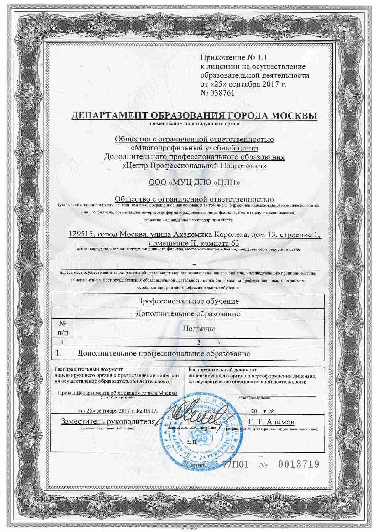 лицензия института